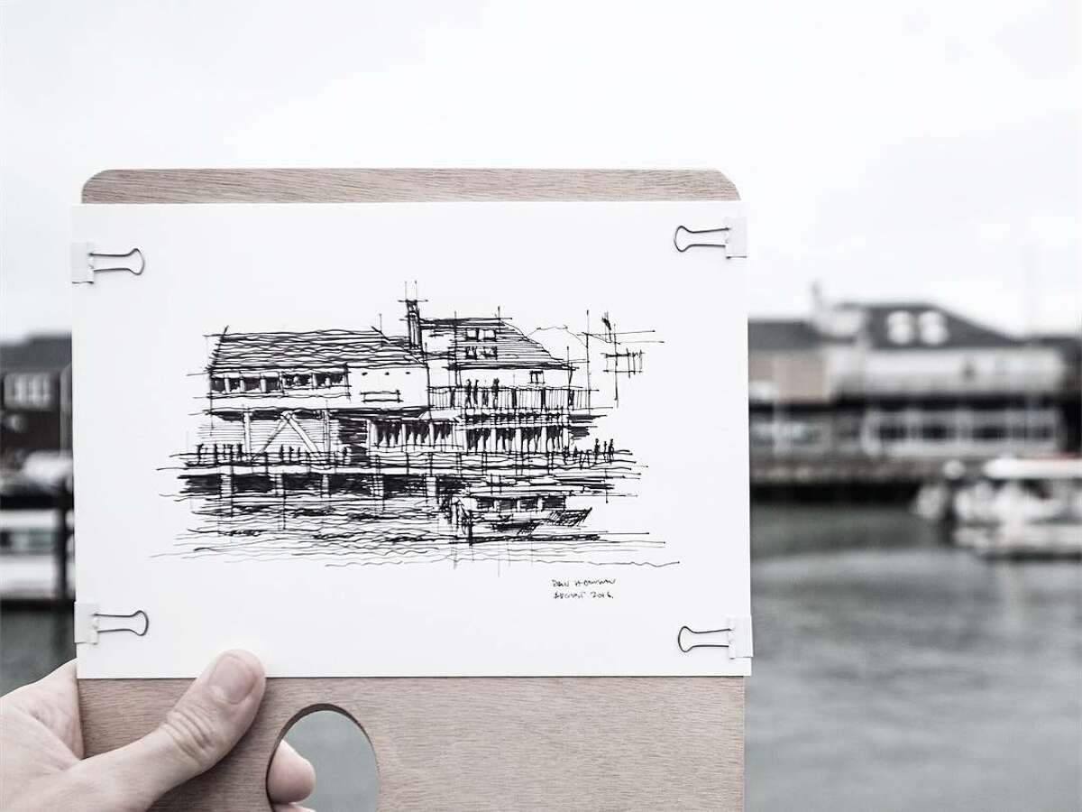 A sketch by architect Dan Hogman, who draws the buildings of San Francisco in his spare time. He shares the sketches (along with his photography and videos) on his Instagram, @danhogman.