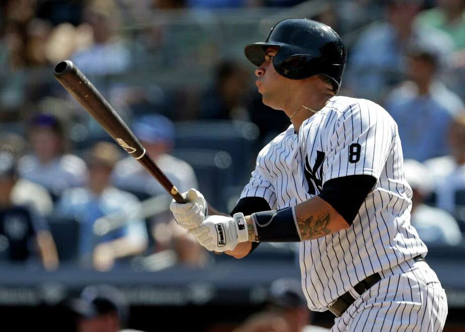 New York Yankees' Gary Sanchez hits a solo home run during the fourth inning of a baseball game against the Baltimore Orioles on Saturday, Aug. 27, 2016, in New York. (AP Photo/Adam Hunger) ORG XMIT: NYY112 Photo: Adam Hunger / FR110666 AP