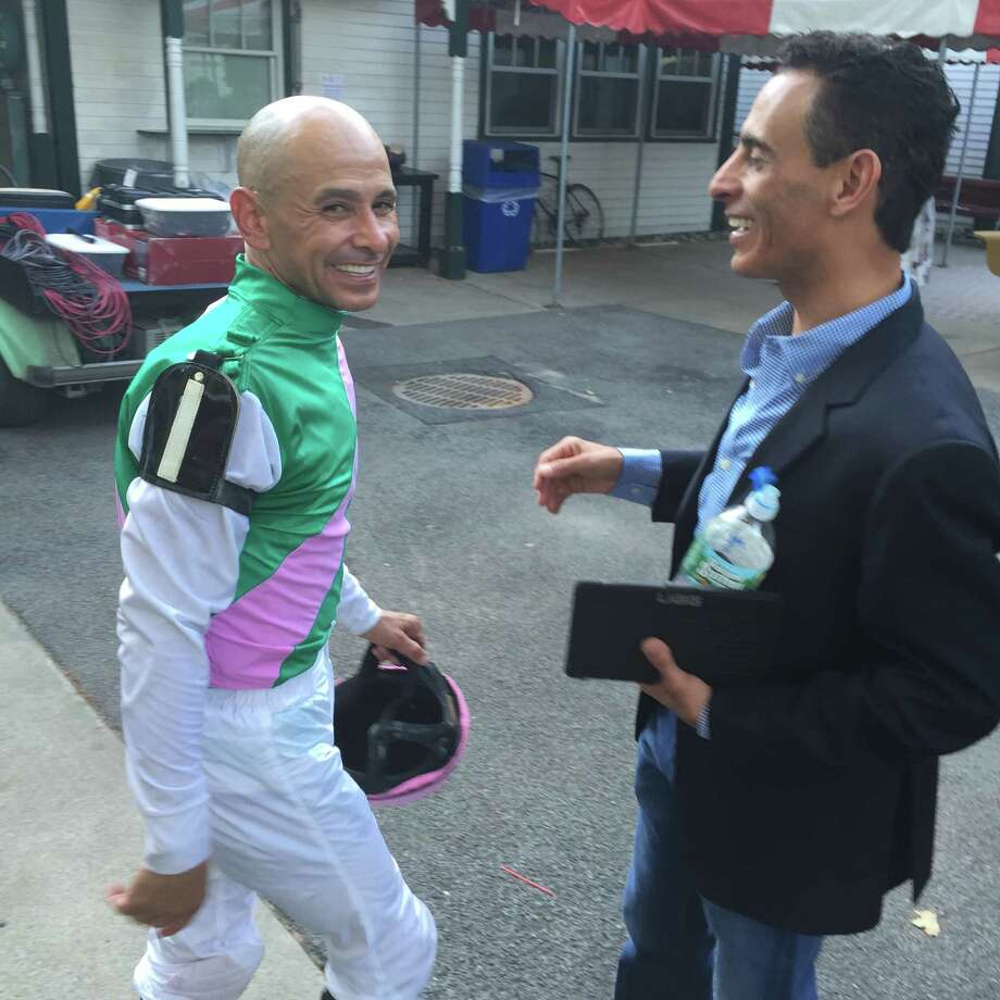 When the Travers was done, there was time to renew old friendships outside the jockey's room. Mike Smith, left, who won the Travers aboard Arrogate, got to spend some time with John Velazquez after Smith finished his obligations at the post race press conference. Smith, who used to ride in New York but now is on the West Coast, and Velazquez, a mainstay here, were making some plans to tentatively hang out for a little bit in the Spa City on Saturday night. Since Smith won, and Johnny V. finished sixth aboard Connect, Smith should have been buying. —Tim Wilkin