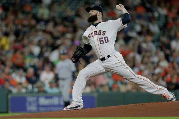 Houston Astros starting pitcher Dallas Keuchel (60) pitches in the first inning against Tampa Bay Rays on Saturday, Aug. 27, 2016, in Houston. Astros lead the series 1-0.