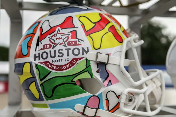 August 27, 2016: Touchdown Tour and event held at Space Center Houston features football helmets to commemorate Houston's upcoming hosting of the NFL Super Bowl.  Photo by Leslie Plaza Johnson