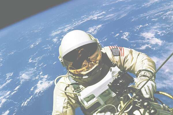 On June 3, 1965, while orbiting the Earth, astronaut Ed White spent 21 minutes outside the Gemini  IV spacecraft as it flew over the United States at an altitude of 103 miles.