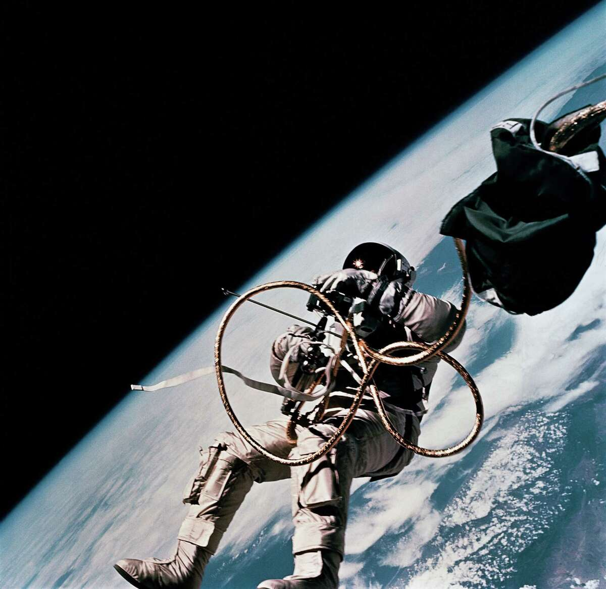 Astronaut Ed White, pilot for the Gemini-Titan 4 spaceflight, floats in space June 3, 1965. The San Antonian was the first American to walk in space.