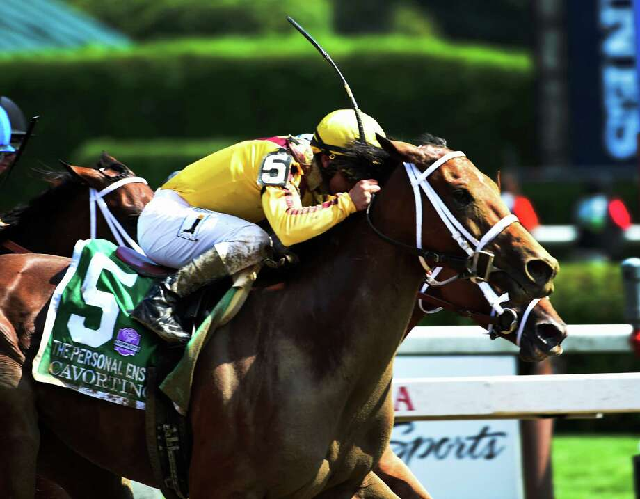 Cavorting with jockey Javier Castellano wins the 69th running of the Personal Ensign at the Saratoga Race Course August 26, 2016 in Saratoga Springs, N.Y.    (Skip Dickstein/Times Union) Photo: SKIP DICKSTEIN / 20037808A