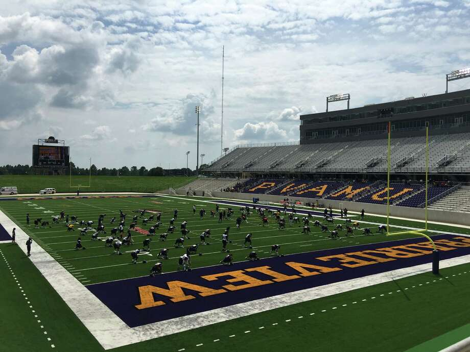 Prairie View A&M's football team stretches Saturday afternoon within the confines of its new $61 million stadium. The Panthers will open their season there Sept. 4 against rival Texas Southern.