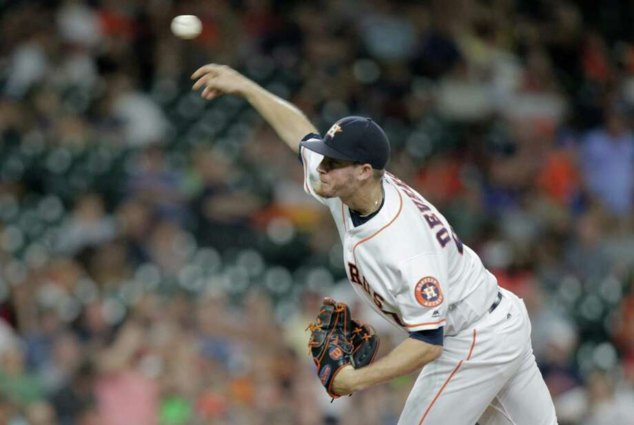 Houston Astros relief pitcher Chris Devenski (47) pitches in the ninth inning against Tampa Bay Rays. Photos of game two between Houston Astros and Tampa Bay Rays on Saturday, Aug. 27, 2016, in Houston. Astros won the game 6-2. Photo: Elizabeth Conley, Houston Chronicle / © 2016 Houston Chronicle