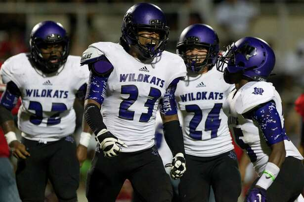 Willis linebacker Tavion Brooks (23) celebrates after forcing and recovering a fumble by Houston MacArthur wide receiver Travis White (8) during the third quarter of a high school football game Saturday, Aug. 27, 2016, at W.W. Thorne Stadium in Houston. Willis defeated Houston MacArthur 21-6.