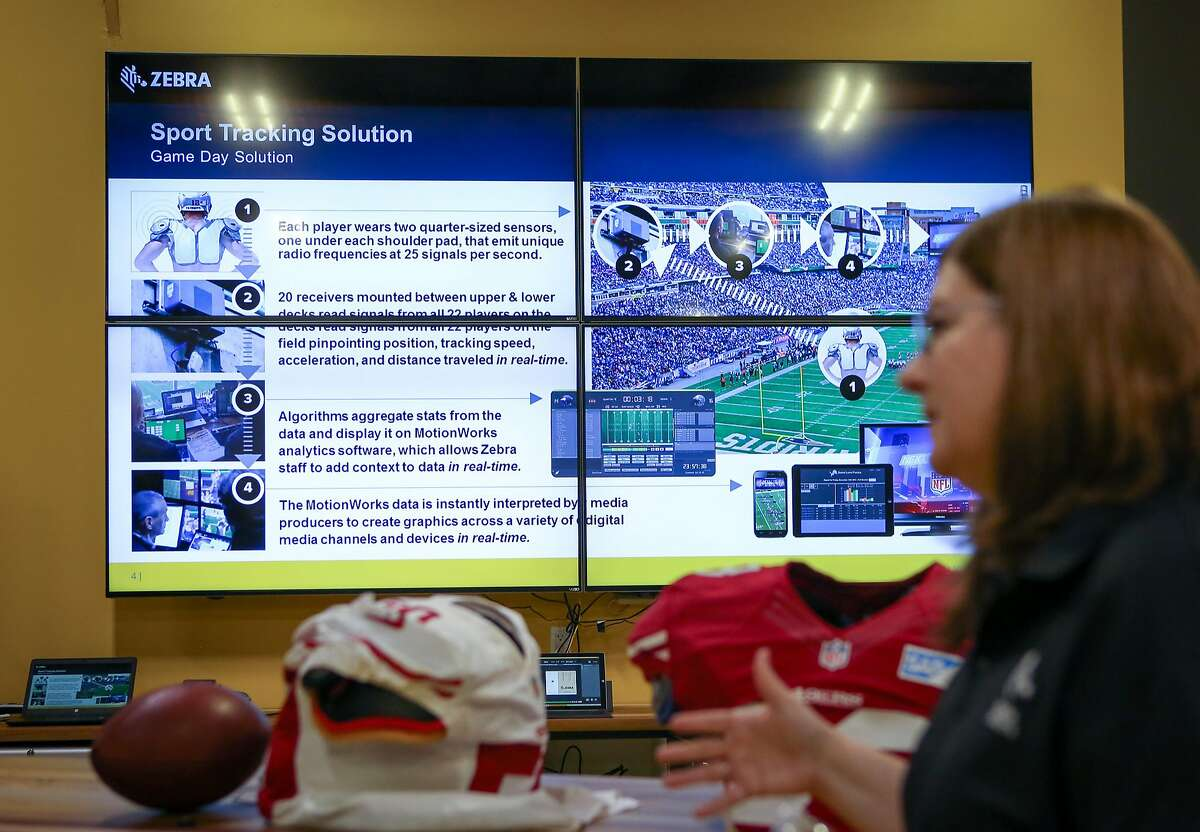 Jill Stelfox, Zebra Technologies general manager of location solutions, unveils Zebra's location tracking RFID chip technology that has been used by the NFL for the last two seasons at Zebra Technologies in San Jose, Calif. on Friday, Aug. 26, 2016.