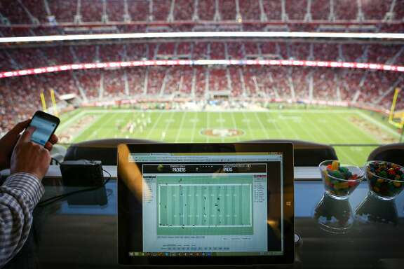 A Zebra Technologies tablet shows live data from the 49ers vs Packers preseason game at Levi's Stadium in San Jose, Calif. on Friday Aug. 26, 2016.
