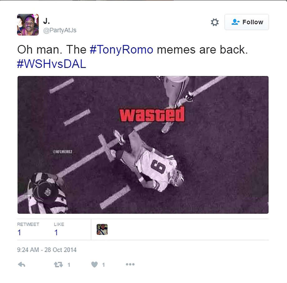 Users on social media sites broke out their best memes to poke fun at Tony Romo's latest injury.  Photo: Screen Grab