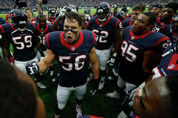 Houston Texans inside linebacker Brian Cushing (56) gathers his teammates in a huddle before an NFL pre-season football game against the Arizona Cardinals at NRG Stadium on Sunday, Aug. 28, 2016, in Houston.