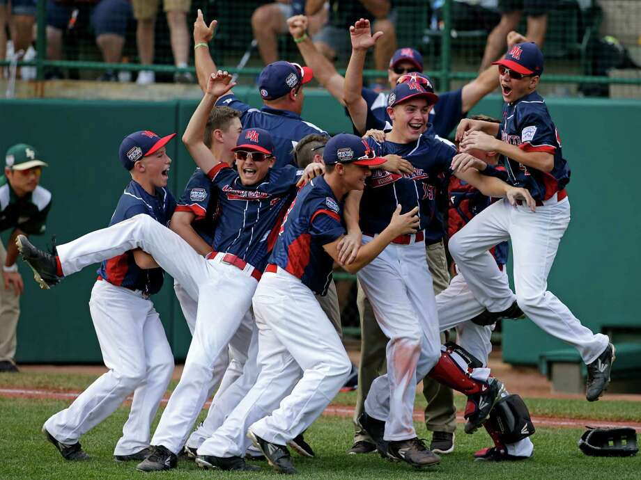 Endwell, N.Y. celebrates its win over South Korea in the Little League World Series Championship baseball game in South Williamsport, Pa., Sunday, Aug. 28, 2016. Photo: Gene J. Puskar, AP / Copyright 2016 The Associated Press. All rights reserved. This material may not be published, broadcast, rewritten or redistribu