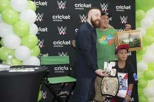 "World Wrestling Entertainment star Sheamus meets with fans on San Antonio's South Side before ""WWE Live"" Sunday night airing from San Antonio."
