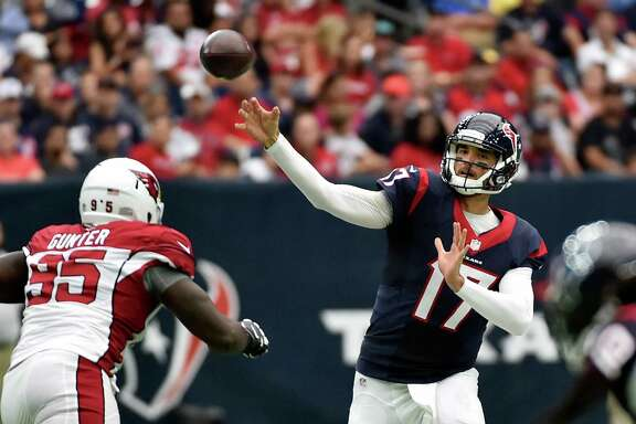 Houston Texans quarterback Brock Osweiler (17) passes against the Arizona Cardinals during the first half of an NFL preseason football game, Sunday, Aug. 28, 2016, in Houston. (AP Photo/Jeff Roberson)