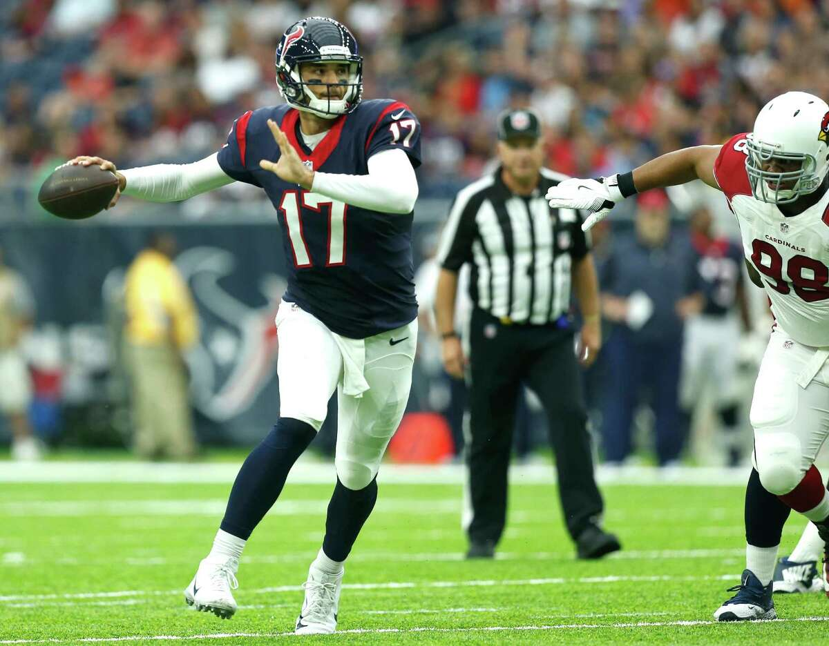 Houston Texans quarterback Brock Osweiler (17) throws a pass against the Arizona Cardinals during the first quarter of an NFL pre-season football game at NRG Stadium on Sunday, Aug. 28, 2016, in Houston.