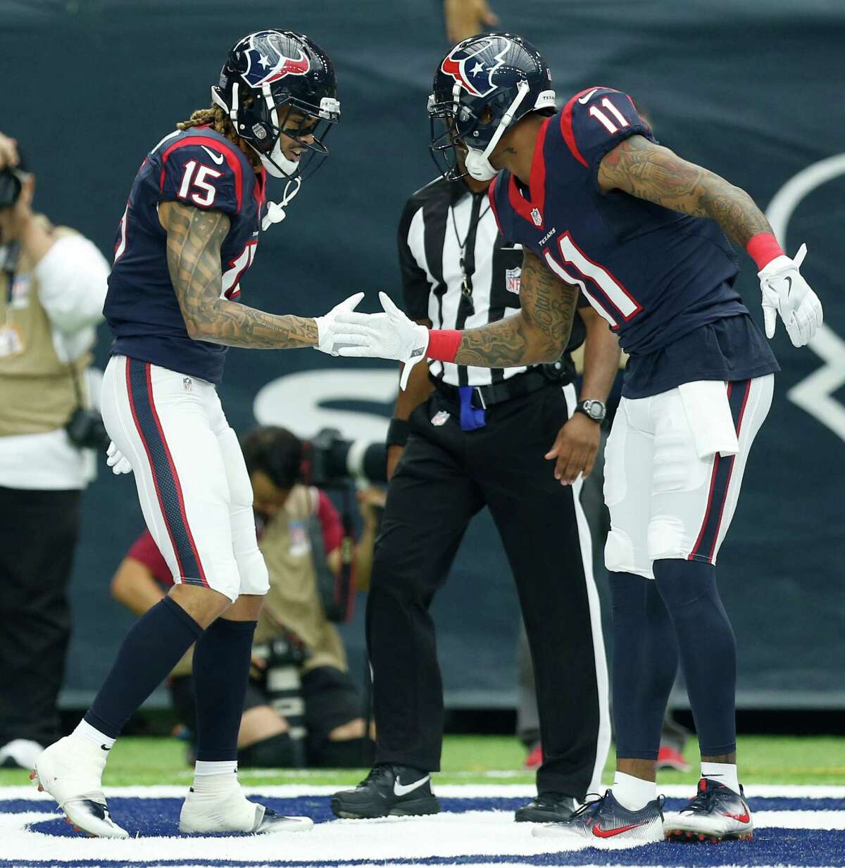 Wide receiver (5) In: 1. DeAndre Hopkins 2. Will Fuller 3. Braxton Miller 4. Jaelen Strong 5. Keith Mumphery The Texans have transformed their receiving corps into a young, talented group headlined by Hopkins' big-play capabilities, Fuller's rare speed and Miller's intuitiveness after shifting from quarterback at Ohio State. Strong provides a red-zone threat. Mumphery excels on special teams. On the bubble: Cecil Shorts, Wendall Williams, Quenton Bundrage. Shorts accepted a pay cut this offseason and is a respected leader in the locker room. Despite that, the Texans could go with Mumphery for special-teams considerations. It's not a clear-cut decision even factoring in Shorts' experience and affordable salary.