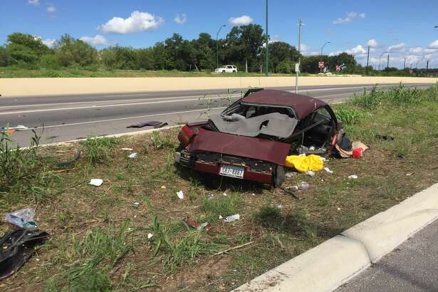 At least 10 San Antonio Fire Department units responded to a rollover crash on the North Side that left two in critical condition Sunday afternoon, Aug. 28, 2016.