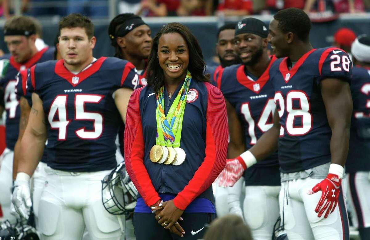 J.J. WATT CHARITY CLASSIC PARTICIPANTS First pitch Olympic gold medalist Simone Manuel