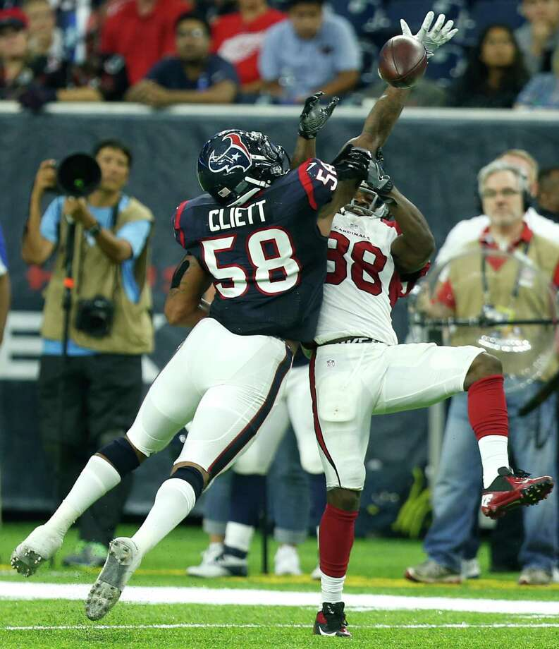 Houston Texans outside linebacker Reshard Cliett (58) breaks up a pass intended for Arizona Cardinals running back Andre Ellington (38) during the fourth quarter of an NFL pre-season football game at NRG Stadium on Sunday, Aug. 28, 2016, in Houston. Photo: Brett Coomer, Houston Chronicle / © 2016 Houston Chronicle