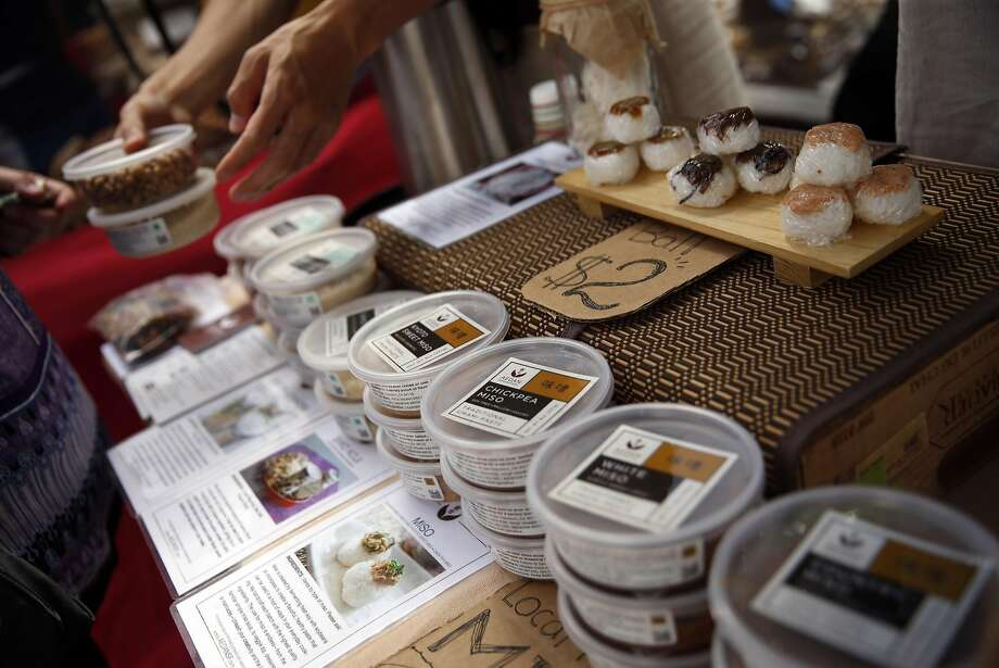 Products at the Aedan Fermented Foods booth at the Divisadero Farmers' Market in San Francisco. Photo: Scott Strazzante, The Chronicle
