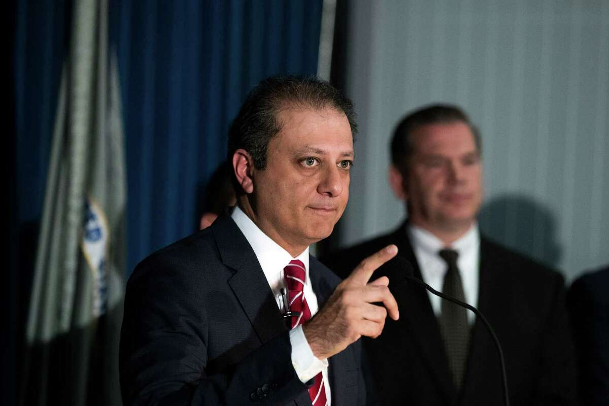 Preet Bharara, U.S. Attorney for the Southern District of New York, speaks during a press conference at the U.S. Attorney's Office for the Southern District of New York, June 8, 2016 in New York City. (Photo by Drew Angerer/Getty Images)