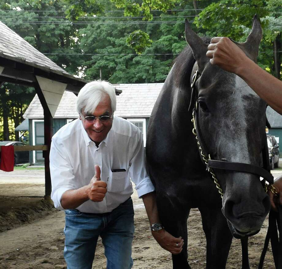 After giving Travers Stakes winner Arrogate a complete check up, trainer Bob Baffert gives a thumbs up Sunday morning in the barn area at the Saratoga Race Course August 28, 2016 in Saratoga Springs, N.Y.    (Skip Dickstein/Times Union) Photo: SKIP DICKSTEIN