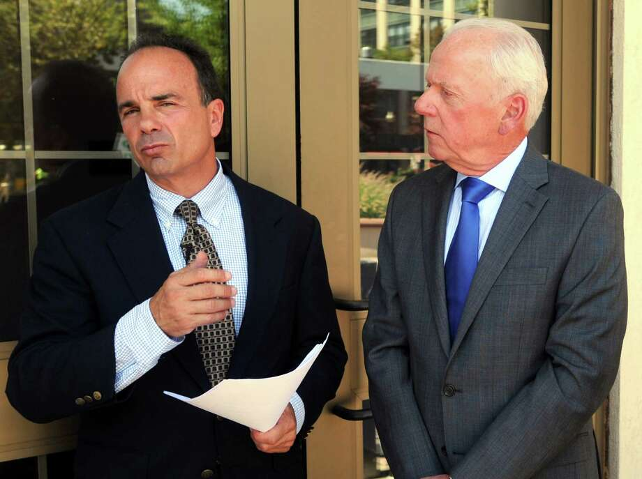 Bridgeport Mayor Joe Ganim and Ed Adams, the mayor's adviser for clean government. Photo: Cathy Zuraw / Hearst Connecticut Media File Photo / Connecticut Post
