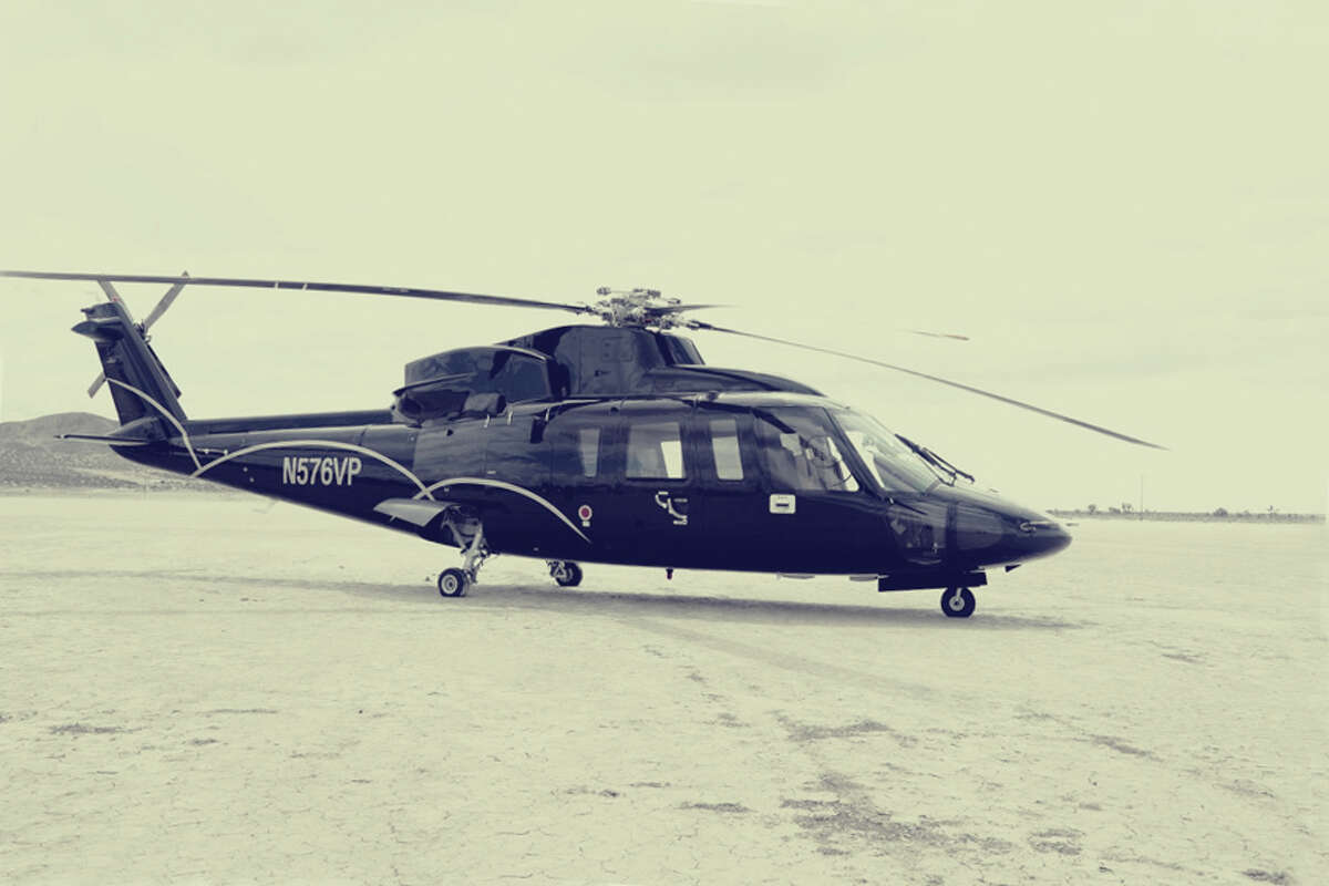 The exterior of theSanta Barbara Helicopter's Sikorsky S-76, ready to transport well-to-do Burners to Burning Man.