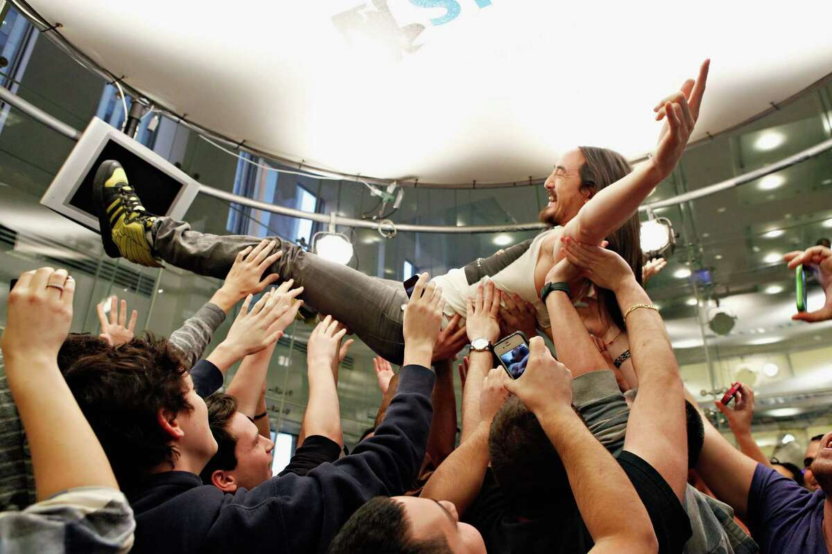 """DJ and label owner Steve Aoki crowd surfs with fans at SiriusXM Studio. His """"I'll Sleep When I'm Dead"""" is a very personal story set in the EDM scene."""