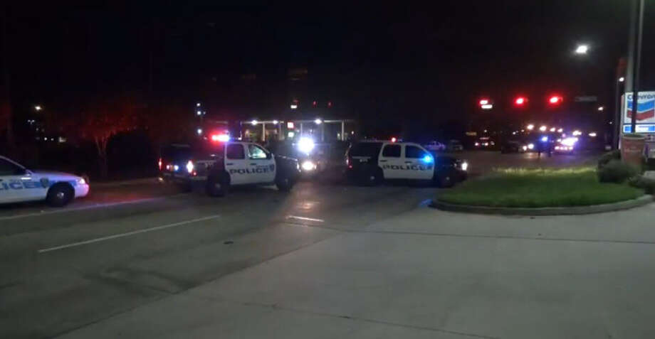 A motorcycle and a car collided in the intersection of Space Center Boulevard and Genoa Red Bluff Road early Monday. According to reports from the scene the male motorcycle rider was transported to an area hospital where he later died from his injuries. Photo: Metro Video