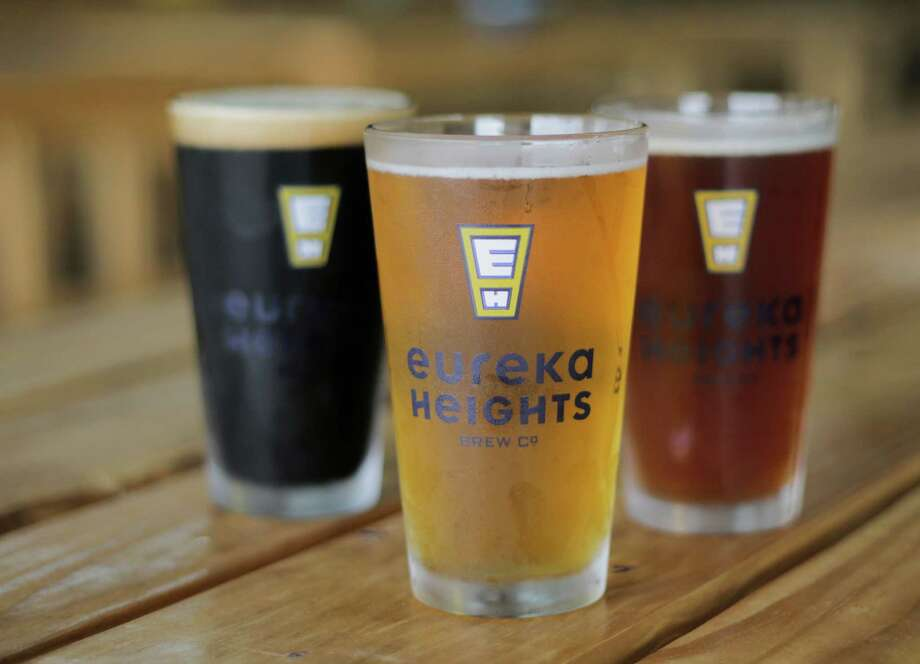 Recently opened Eureka Heights Brew Co. will be featured at the Brewmasters Craft Beer Festival in Galveston over the 2016 Labor Day weekend. Shown here are pints of Moo Caliente, Buckle Bunny and Wicked Awesome. ( Elizabeth Conley / Houston Chronicle ) Photo: Elizabeth Conley, Staff / © 2016 Houston Chronicle