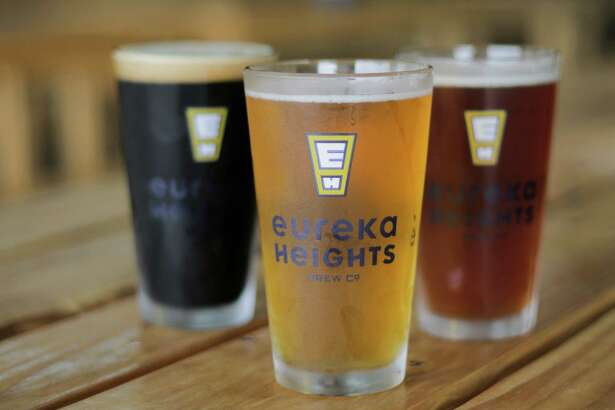 Recently opened Eureka Heights Brew Co. will be featured at the Brewmasters Craft Beer Festival in Galveston over the 2016 Labor Day weekend. Shown here are pints of Moo Caliente, Buckle Bunny and Wicked Awesome. ( Elizabeth Conley / Houston Chronicle )