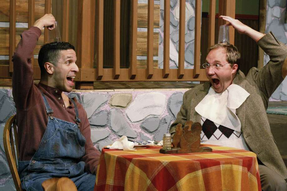 """The Sheldon Vexler Theatre's staging of """"The Foreigner"""" received seven Globe Awards at Sunday's ceremony. The ensemble cast included, from left, Roman Garcia and Jared Stephens. Photo: /Courtesy Allison Cornwell"""