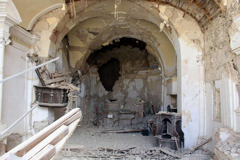 St. Agostino Church in Amatrice sustained heavy damage in last week's strong earthquake in central Italy. Photo: Rom109, Associated Press
