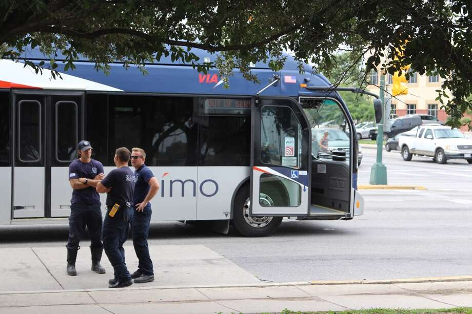 Authorities are investigating the scene of a crash after a VIA bus struck an elderly woman near Frio and Martin Street Monday Aug. 29, 2016. Photo: By Tyler White / Express-Newss