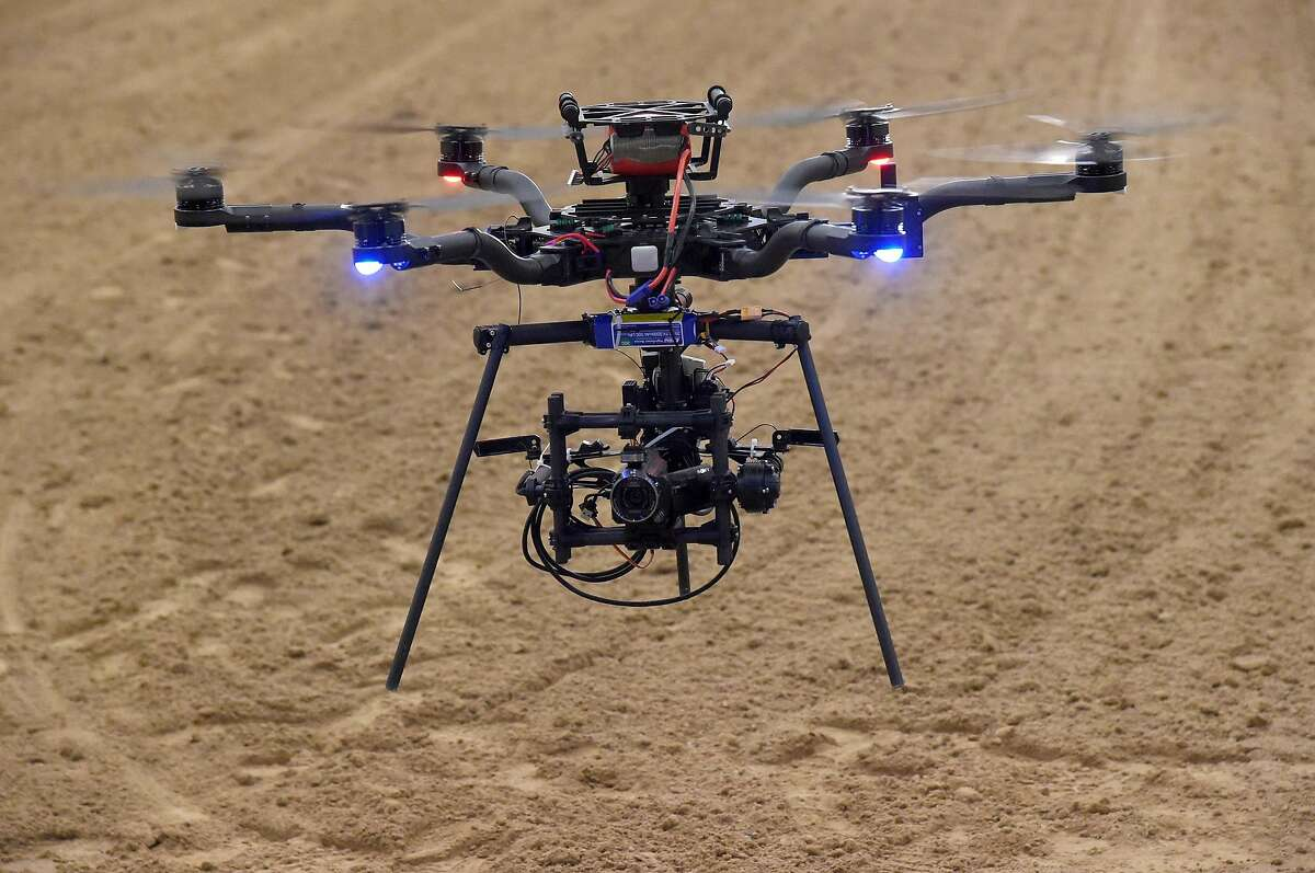 A Freefly Alta 6 drone is flown during an AviSight Drone Academy training class at the South Point Hotel & Casino on August 26, 2016 in Las Vegas, Nevada.