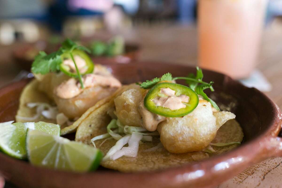 Shrimp tacos from Cosecha inside of Swan's Market in Old Oakland.