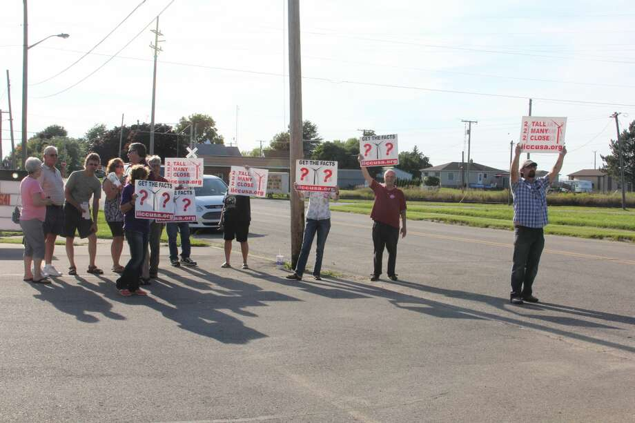 Some residents protested at a recent NextEra open house in Ruth. Photo: Brenda Battel/Huron Daily Tribune