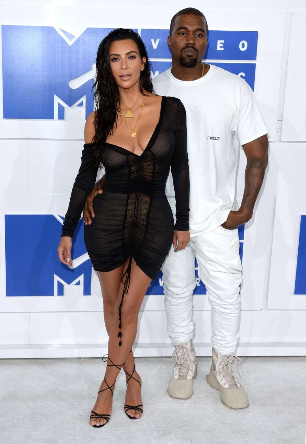Kim Kardashian and Kanye West attend the 2016 MTV Video Music Awards at Madison Square Garden on August 28, 2016 in New York City.