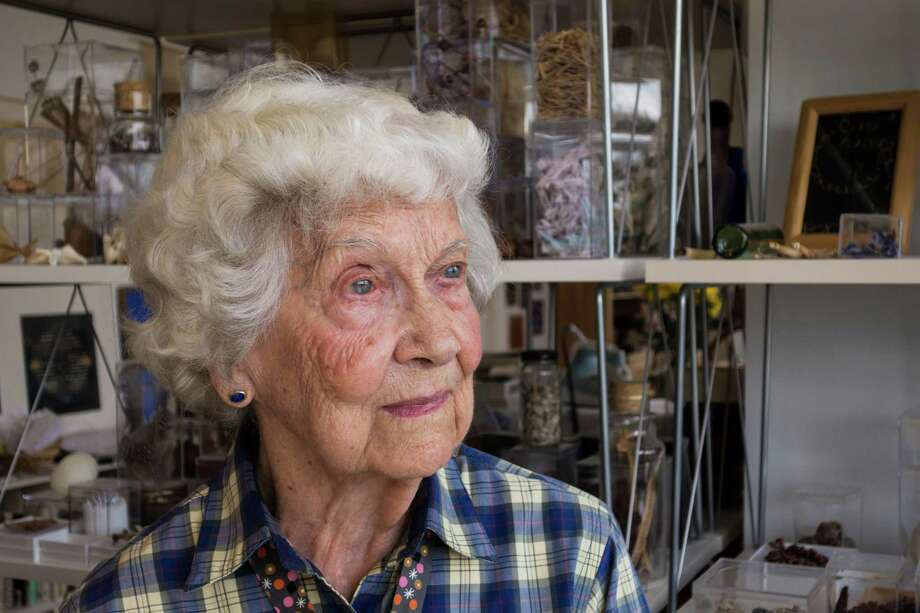 Houston artist Elinor Evans in 2014, when she was 100. She has died at the age of 102. Photo: Jeff Fitlow