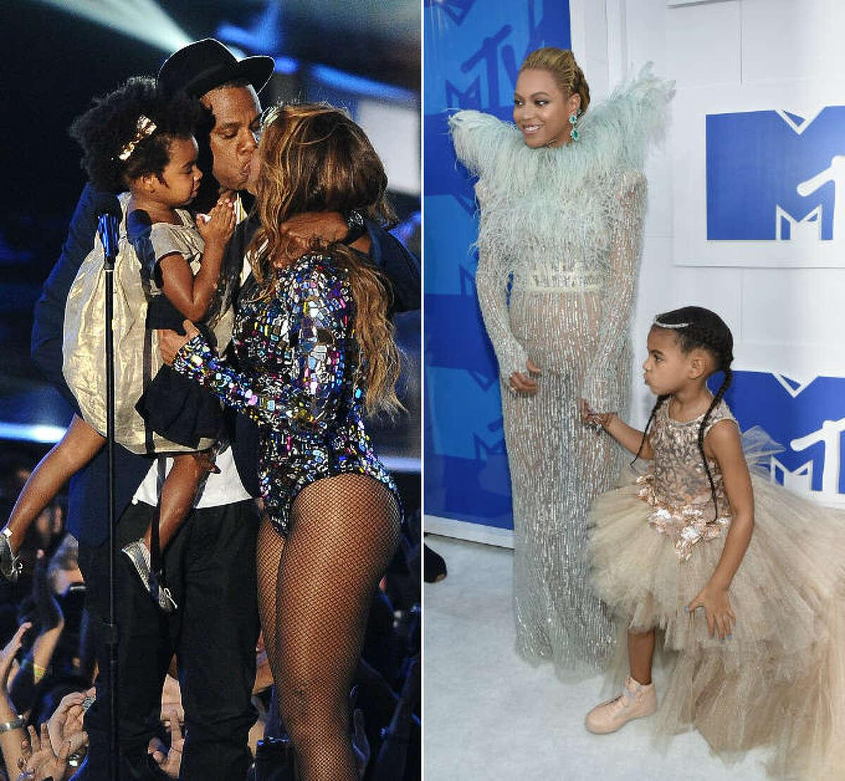Beyonce, Jay Z and Blue Ivy at the 2014 VMAs, and a Jay Z-less bunch at the 2016 VMAs.
