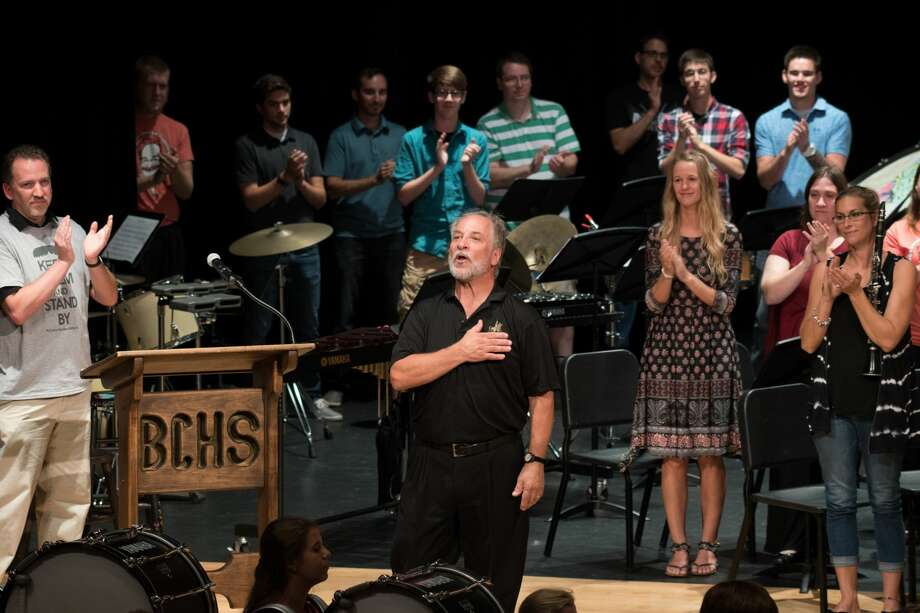 Mr. Greg Smokovitz, band director at Bullock Creek High School thanks everyone at his retirement concert on Sunday. Photo: STEVEN SIMPKINS | For The Daily News