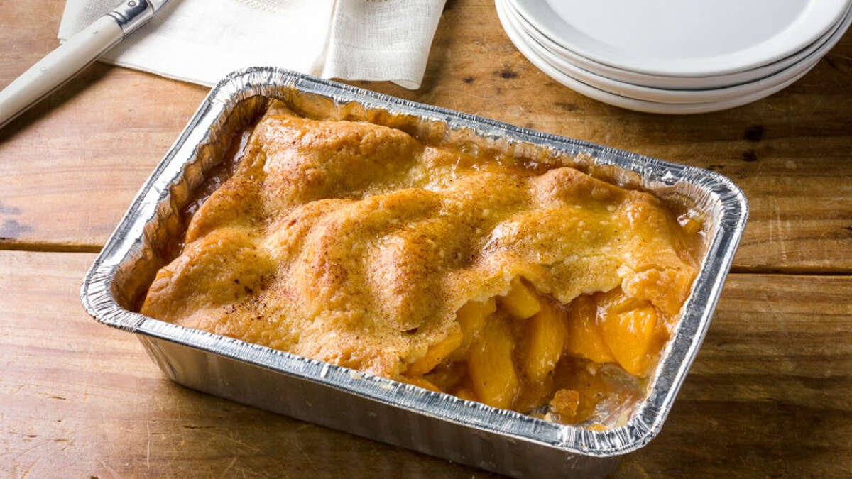 Peach cobbler from a new line of Patti LaBelle desserts being offered at Walmart stores.