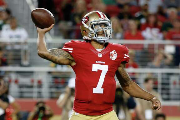 San Francisco 49ers quarterback Colin Kaepernick throws the ball during the first half of an NFL preseason football game against the Green Bay Packers on Friday, Aug. 26, 2016, in Santa Clara, Calif.