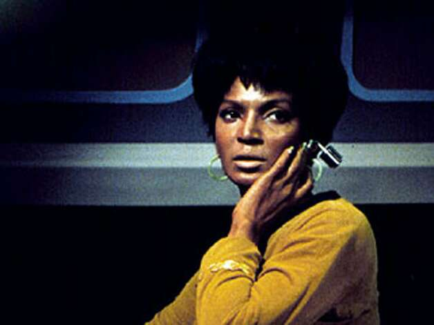 Nichelle Nicholswas Lt.Uhura, communications officer. She was often seen holding an earphone as earbud technology has apparently been lost to humans of the 23rd century. Photo: Copyright (C) Paramount Pictures
