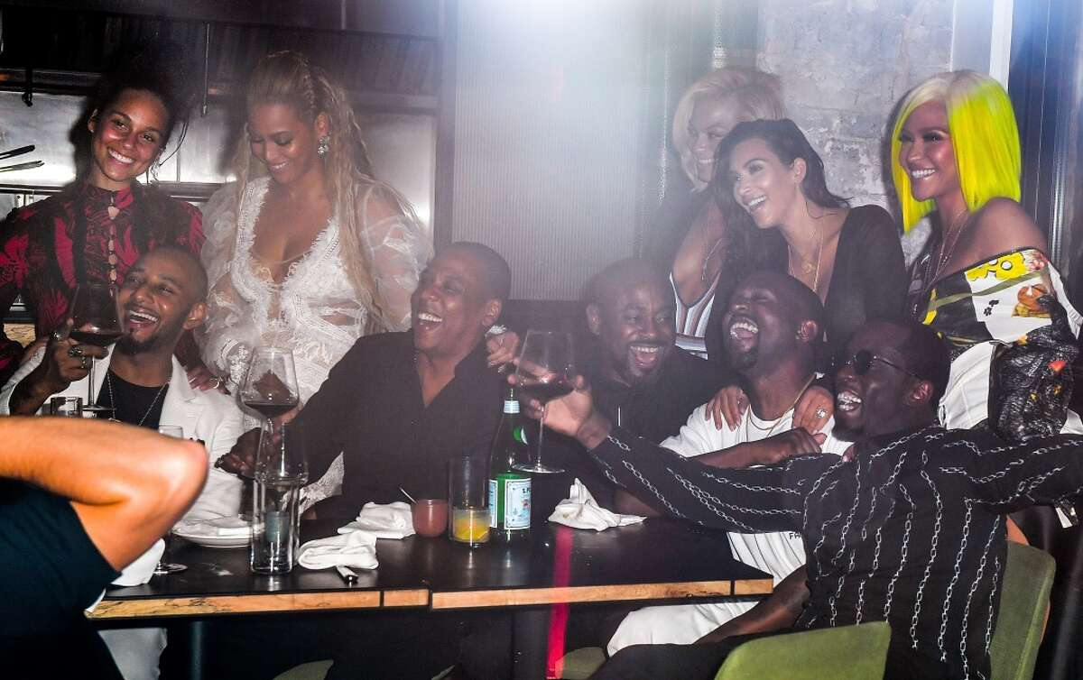 Alicia Keys, Swizz Beatz, Beyonce, Jay-Z, Kanye West, Kim Kardashian, Sean 'Diddy' Combs and Cassie celebrate their 2016 MTV Video Music Awards After Party at Pasquale Jones on August 28, 2016 in New York City.