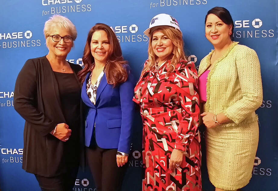 From left, businesswomen Ivette Mayo, NelyGalan, and Maria Rios, with Laura Murillo, president of the Houston Hispanic Chamber of Commerce.