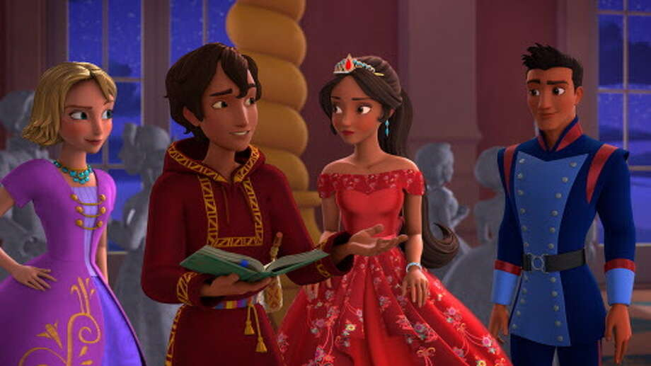 "Princess Elena, center, enlists the help of Mateo, her newly appointed Royal Wizard, to undo the spell and save her family in ""Elena of Avalor."" Photo: Disney Channel / © 2016 Disney Enterprises, Inc. All rights reserved."