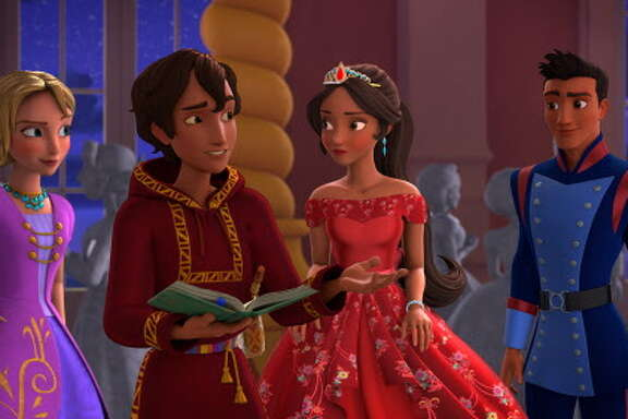 "Princess Elena, center, enlists the help of Mateo, her newly appointed Royal Wizard, to undo the spell and save her family in ""Elena of Avalor."""