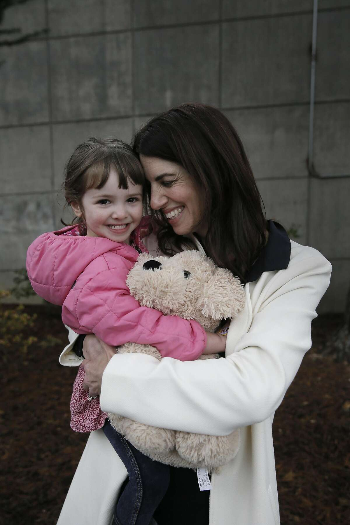 Hillary Ronen with her 3-year-old daughter Maelle Ronen Ugarte, as she prepares to announce her candidacy for San Francisco Supervisor, district 9, in front of St. Luke's Hospital in the Mission in San Francisco, Calif. on Thurs. January 14, 2016.